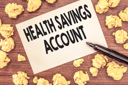 Conceptual hand writing showing Health Savings Account. Business photo showcasing users with High Deductible Health Insurance Policy. Stock Photo