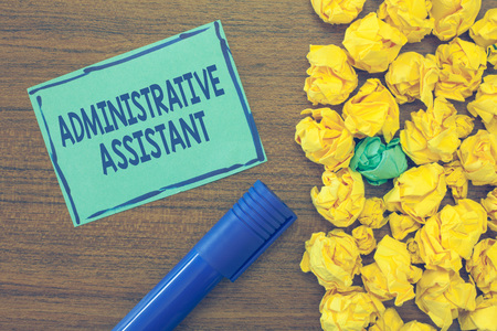 Text sign showing Administrative Assistant. Conceptual photo Administration Support Specialist Clerical Tasks.