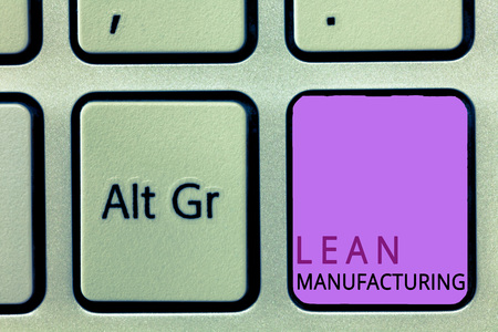 Word writing text Lean Manufacturing. Business concept for Waste Minimization without sacrificing productivity.
