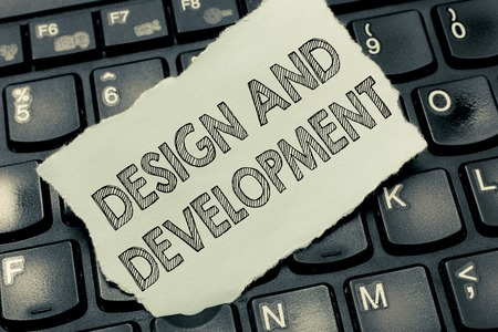 Conceptual hand writing showing Design And Development. Business photo text Defining the Specification of Products and Services.