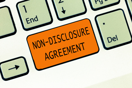 Conceptual hand writing showing Non Disclosure Agreement. Business photo text Legal Contract Confidential Material or Information. Stock fotó