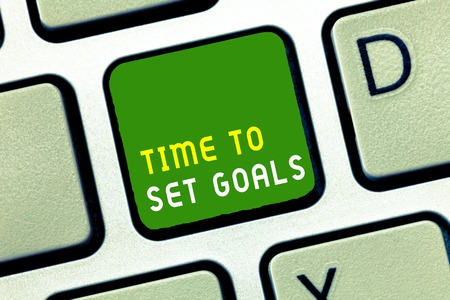 Writing note showing Time To Set Goals. Business photo showcasing Desired Objective Wanted to accomplish in the future. Stock Photo