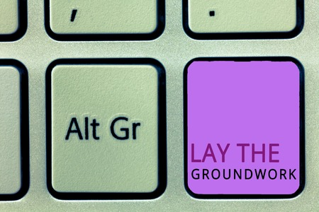 Word writing text Lay The Groundwork. Business concept for Preparing the Basics or Foundation for something.