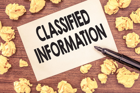 Conceptual hand writing showing Classified Information. Business photo showcasing Sensitive Data Top Secret Unauthorized Disclosure.