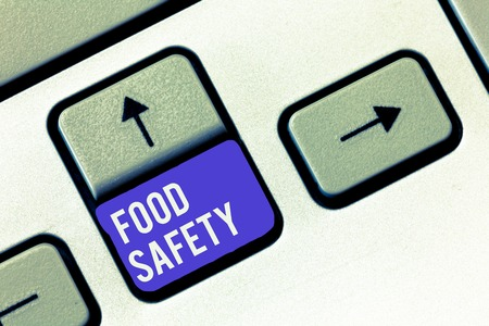 Conceptual hand writing showing Food Safety. Business photo showcasing Conditions and practices that preserve the quality of food. Stock Photo