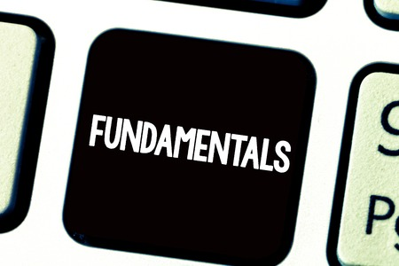Text sign showing Fundamentals. Conceptual photo Central primary rules principles on which something is based. Stok Fotoğraf - 111017723