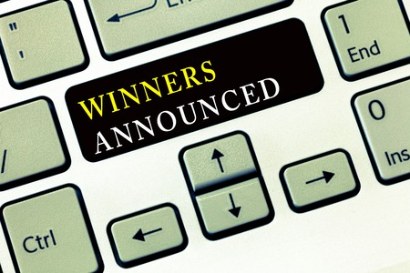 Writing note showing Winners Announced. Business photo showcasing Announcing who won the contest or any competition. 写真素材
