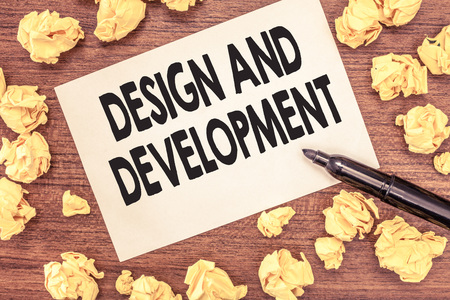 Conceptual hand writing showing Design And Development. Business photo showcasing Defining the Specification of Products and Services. Stok Fotoğraf