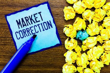 Schreibnotiz mit Marktkorrektur. Business Photo Showcase Wenn die Preise um 10 Prozent vom 52-Wochen-Hoch fallen.