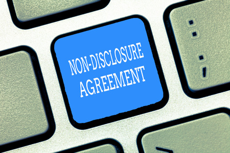 Text sign showing Non Disclosure Agreement. Conceptual photo Legal Contract Confidential Material or Information. Stock fotó
