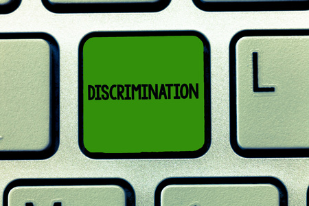 Conceptual hand writing showing Discrimination. Business photo showcasing Prejudicial treatment of different categories of showing.