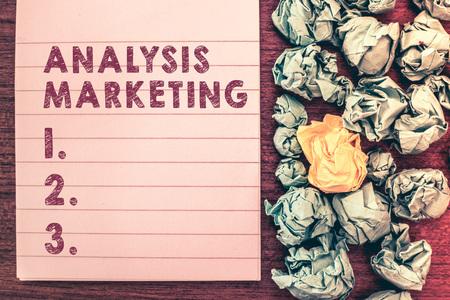 Word writing text Analysis Marketing. Business concept for Quantitative and qualitative assessment of a market. Foto de archivo