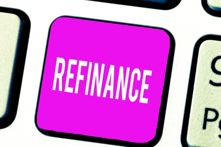 Handwriting text Refinance. Concept meaning Finance again Replacement of existing debt with another one.