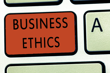 Word writing text Business Ethics. Business concept for Moral principles that guide the way a business behaves.