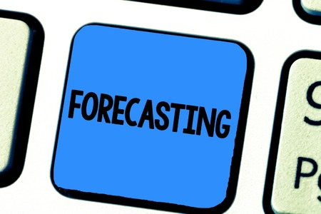 Handwriting text writing Forecasting. Concept meaning Predict Estimate a future event or trend based on present data.