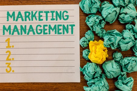 Writing note showing Marketing Management. Business photo showcasing Develop Advertise Promote a new Product or Service.