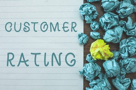 Conceptual hand writing showing Customer Rating. Business photo text Each point of the customers enhances the experience.