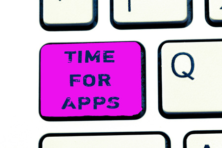 Text sign showing Time For Apps. Conceptual photo The best fullfeatured service that helps communicate faster.