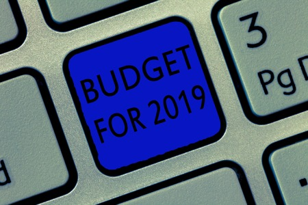Writing note showing Budget For 2019. Business photo showcasing An written estimates of income and expenditure for 2019.