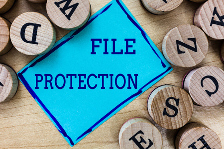Word writing text File Protection. Business concept for Preventing accidental erasing of data using storage medium. Standard-Bild