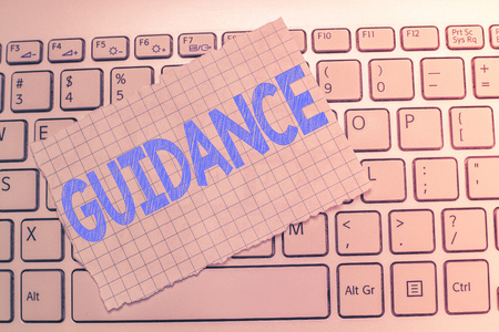Writing note showing Guidance. Business photo showcasing advice or information aimed at resolving problem or difficulty. Stock Photo