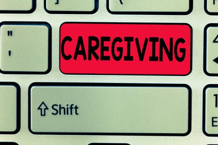 Conceptual hand writing showing Caregiving. Business photo text Act of providing unpaid assistance help aid support Senior care.