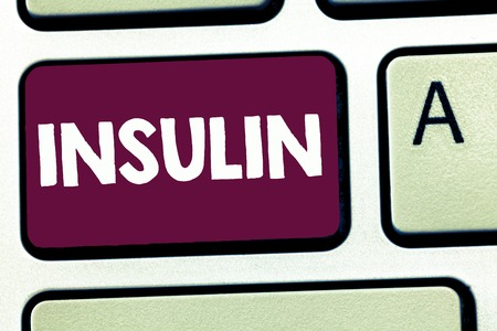 Text sign showing Insulin. Conceptual photo Protein pancreatic hormone Regulates the glucose in the blood. Banco de Imagens
