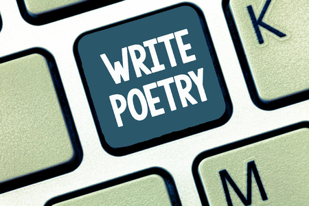 Handwriting text Write Poetry. Concept meaning Writing literature roanalysistic melancholic ideas with rhyme. Banco de Imagens