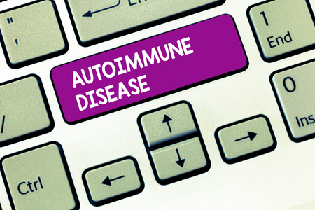 Writing note showing Autoimmune Disease. Business photo showcasing Unusual antibodies that target their own body tissues. Stok Fotoğraf