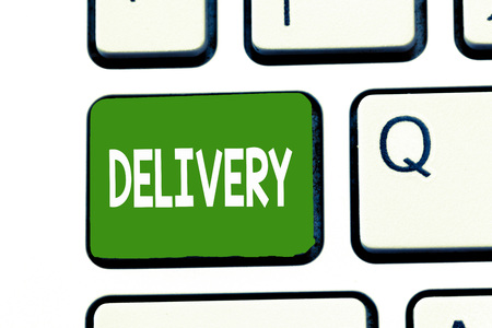 Word writing text Delivery. Business concept for action of delivering letters parcels or goods Giving birth. Stok Fotoğraf