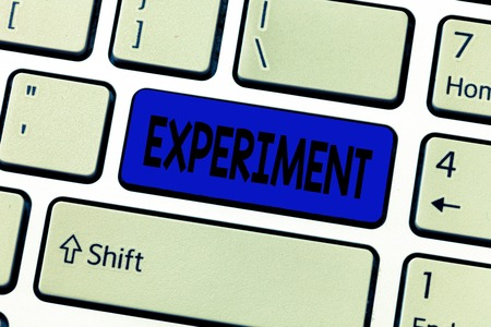 Text sign showing Experiment. Conceptual photo Scientific procedure Make discovery test hypothesis demonstrate.