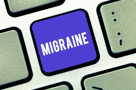 Handwriting text Migraine. Concept meaning recurrent throbbing headache that affects one side of head.