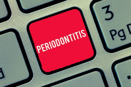 Word writing text Periodontitis. Business concept for Swelling of the tissue around the teeth Shrinkage of the gums.