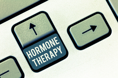 Writing note showing Hormone Therapy. Business photo showcasing use of hormones in treating of menopausal symptoms. Stock Photo
