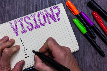 Text sign showing Vision question. Conceptual photo Being able to see Objective Inspiration Planning for future Man holding marker notebook paper communicating ideas Wooden background Imagens