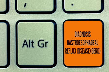 Handwriting text writing Diagnosis Gastroesophageal Reflux Disease Gerd . Concept meaning Digestive disorder.