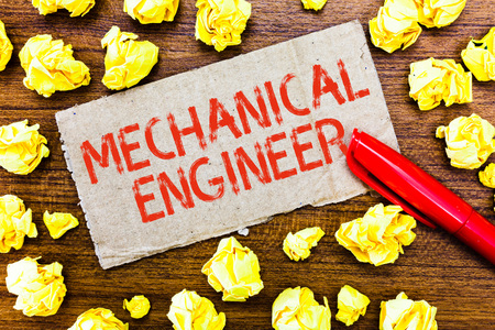 Text sign showing Mechanical Engineer. Conceptual photo Applied Engineering Discipline for Mechanical System.