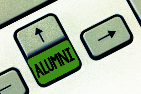 Text sign showing Alumni. Conceptual photo former pupil or student especially male one of particular school. Stock Photo