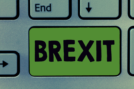 Text sign showing Brexit. Conceptual photo term potential departure of United Kingdom from European Union. Stock Photo
