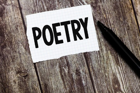 Text sign showing Poetry. Conceptual photo literary work in which expression of feelings and ideas using rhythm. Stockfoto