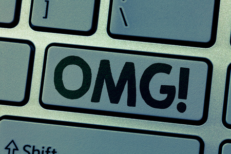 Writing note showing Omg. Business photo showcasing Used to express shock Excitement Disbelief SMS shortcut Expression.