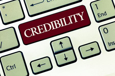 Writing note showing Credibility. Business photo showcasing Quality of being convincing trusted credible and believed in.
