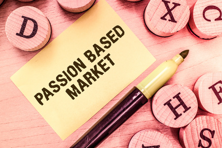 Handwriting text writing Passion Based Market. Concept meaning Emotional Sales Channel a Personalize centric Strategy. Archivio Fotografico