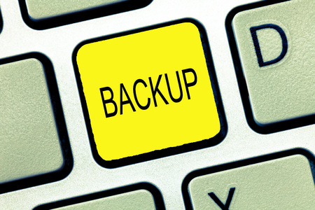 Writing note showing Backup. Business photo showcasing Copy of file data made in case original is lost or damaged Support.