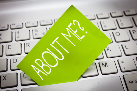 Handwriting text ABOUT ME question. Concept meaning Interrogating oneself Letting other showing knows you. Stock Photo