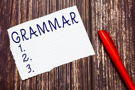 Text sign showing Grammar. Conceptual photo System and Structure of a Language Correct Proper Writing Rules. Banco de Imagens
