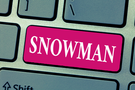 Word writing text Snowman. Business concept for Representation of huanalysis figure created with compressed snow.