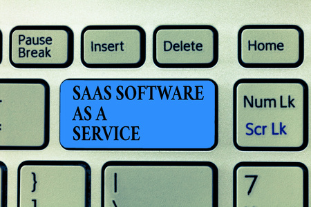 Text sign showing Saas Software As A Service. Conceptual photo the use of cloud based App over the Internet. 版權商用圖片