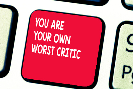Conceptual hand writing showing You Are Your Own Worst Critic. Business photo text too hard on self No to Positive Feedback. Stock Photo