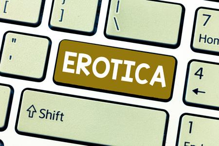 Word writing text Erotica. Business concept for Books pictures produce sexual desire pleasure Erotic literature art.